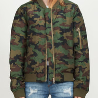 LE3NO PREMIUM Womens Padded Camouflage Flight Bomber Jacket with Pockets (CLEARANCE)