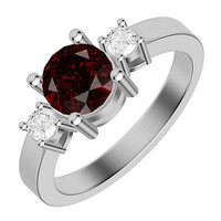 2.51CTW RED ROUND RUBY SOLITAIRE STUD 925 STERLING SILVER WHITE RHODIUM RING
