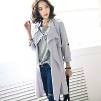 Plain Long Sleeve Chiffon Trench Coat with Belt