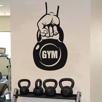 Kettlebell Gym Wall Decal, Kettlebell Workout Wall Sticker, Garage Gym Wall Decor, Fitness Motivation Wall Decal, Gym Wall Mural se099