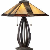 Quoizel TF1181TVA Tiffany Bronze Glass Desk Lamp