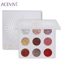 ACEVIVI 9 Colors Glitters Eye Shdow Palette Rainbow Diamond Pressed Glitters Eyeshadows Cosmetic Make Up Glitterinjections