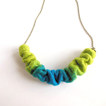 Felted necklace  pendant necklace, hand felted  felt, turquoise green chain necklace ooak necklace