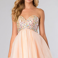 Short Strapless Baby Doll Party Dress by Blush