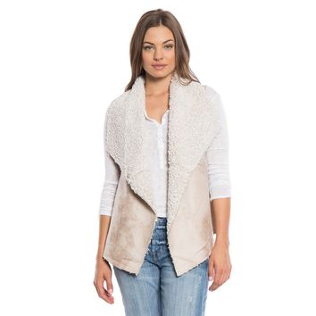 Frosty Tipped Shearling Snap Vest in Natural by True Grit (Dylan)