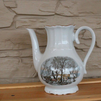 Vintage Crown Bavaria Porcelain Coffee Pot, Winter, Christmas Scene, Created Exclusively for Avon,