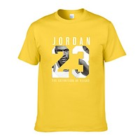 Jordan Fashion New Letter Print People Print Women Men Top T-Shirt Yellow
