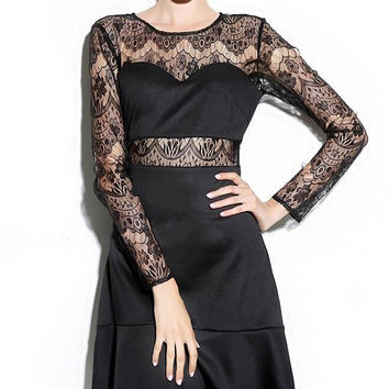 Long Sleeve Cut-Out Lace Dress
