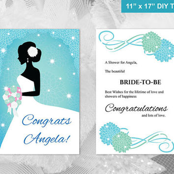 DIY Printable Bridal Shower Congratulations Card | Editable MS Word file | 11 x 17 | Instant Download | Green Blue Turquoise Dahlia Flower