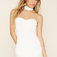 Crinkled Choker-Neck Dress