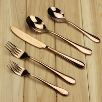 High-grade Flatware Set Rose Gold Stainless Steel Plated Dinnerware (2 Spoon + 2 Fork + Knife) Mirror Polishing Cutlery