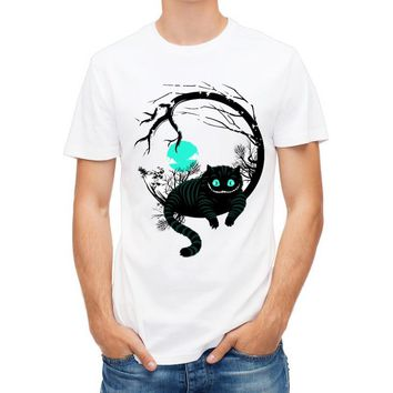 New Harajuku Big Tooth Ghost Cheshire cat design men T-Shirt summer hipster Who is in wonderland print men's T-Shirt