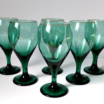 Set of 6 Vintage Wine Glasses Teal Green Teardrop 12 oz Glass Goblets Emerald Green Barware