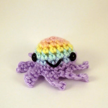Pastel Rainbow Striped Baby Octopus - Purple Base - Made to Order - Amigurumi Crochet Plushie
