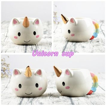 Fashion Cartoon Cup Ceramic Cups Mugs Creative Unicorns Hand-painted Cartoon Cup Milk Cup Coffee Cup Gift Cup