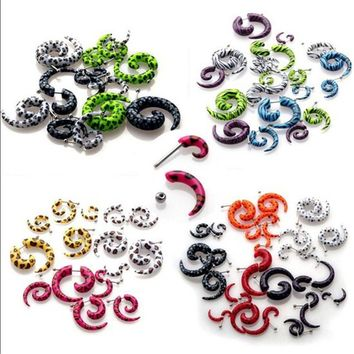 10pcs Acrylic Fake Cheater Stretcher Twist Spiral Gauges Expanders Earring Ear Tunnel Plugs Piercing Body Jewelry