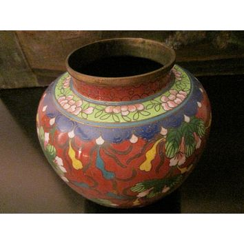 Asian Cloisonne Vase Coral Over Brass Floral Enameling