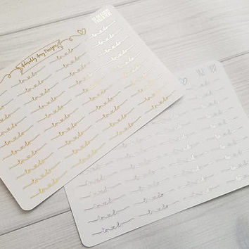 Foiled To Do Script Reminder Planner Stickers for Erin Condren, Plum Planner, Inkwell Press, Kikki K or Any Size Planners