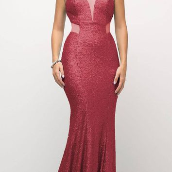 Long Sequin Sheath Dress Burgundy Sheer Side Cut Out Form Fitting