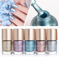 NICOLE DIARY Metallic Nail Polish Pure Color 9ml Mirror Effect Shiny Metal Polish Varnish 5 Colors