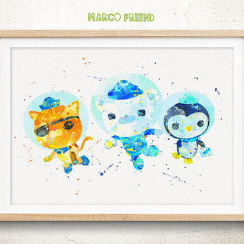Octonauts - Watercolor, Art Print, Home Wall decor, Watercolor Print, Disney Princess Poster