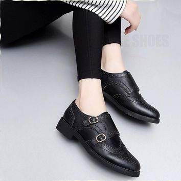 Women genuine leather tassel brogue oxford shoes woman silver brown handmade vintage retro casual flat shoes for women