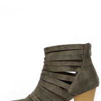 Mountain Peeks Grey Strappy Ankle Boots