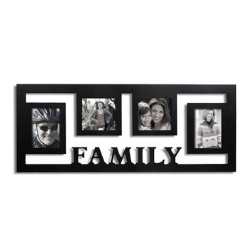"""Family"" 4-Opening Hearts Collage Picture Frame"
