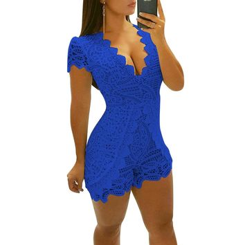 Royal Blue Short Sleeve Romper