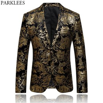 Mens Hipster Geek Metallic Paisley Floral Printed Suit Blazer 2018 New Slim Fit Single Breasted Two Button Suit Blazers Jacket