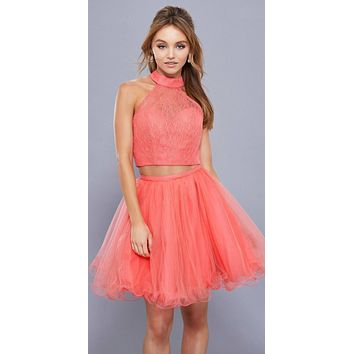 Coral Halter High Neckline Lace Crop Top Two-Piece Short Prom Dress