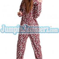 Blazing Red Cheetah  - Hooded Footed Pajamas - Pajamas Footie PJs Onesuits One Piece Adult Pajamas - JumpinJammerz.com