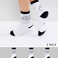 Nike 3 Pack Crew Socks With Large Logo at asos.com