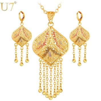 U7 Gold Color Jewelry Set Wedding Accessories Indian Trendy Tassels Party Long Earrings Necklace Set For Women Gift S632