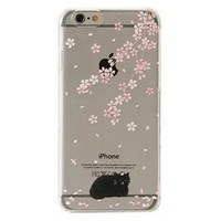 iPhone 6 Plus Case, SwiftBox Flowing Liquid Floating Bling Glitter Sparkle Stars Hard Case for iPhone 6 Plus 5.5 inch + 0.3mm Tempered Glass Screen Protector + Owl Phone Strap (Cherry Blossom and Black Cat)