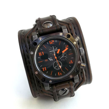 Men's watch, Leather Cuff Watch, Wrist Watch, Leather, Leather Cuff, Bracelet Watch, Watch Cuff, Dark Brown