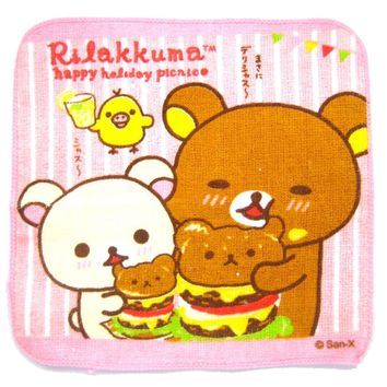 Small Rilakkuma Bear Eating Teddy Shaped Hamburgers Print Handkerchief Face Towel | Japan
