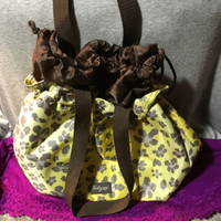 Handbag Thirty-One Yellow & Taupe Multi Nylon Floral Drawstring Tote Lunch Bag