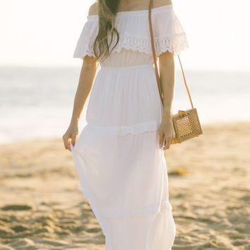 Nicolette White Off the Shoulder Maxi Dress
