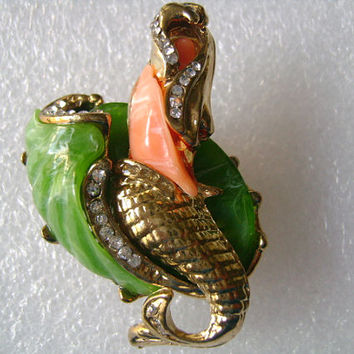 HATTIE CARNEGIE Gold Tone Green Jade Salmon Coral With Rhinestone Figural Beautiful The Mermaid Lady Pin Brooch  Book Piece On Sale