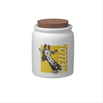 Funky Paisley Giraffe Cute Candy Jars: Funny and Girly Wild Animal Design Candy Dishes