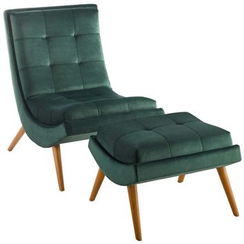 Ramp Upholstered Performance Velvet Lounge Chair and Ottoman Set