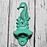 Cast Iron bottle opener // Nautical bottle opener // wall mounted bottle opener // metal bottle opener // Kitchen Decor // Seahorse // Beach