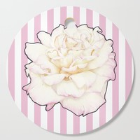 Pale Rose on Stripes Cutting Board by drawingsbylam