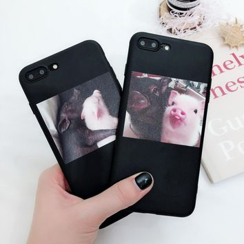 Funny Cartoon Pig Print Pattern Phone Case For iphone X Case For iphone 6 6S 5 5s 7 8 plus Soft TPU Back Cover Cute Couple Cases