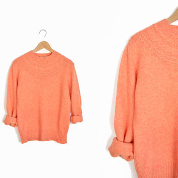 Vintage 60s/70s Cable Knit Wool Sweater in Peach - women's medium