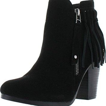 Women's Gail-26 Fringe Chunky Stacked Heel Ankle Boots