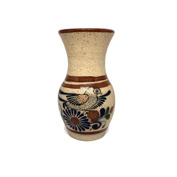 Vintage Tonala Pottery Vase Mexico Hand Painted Bird & Flowers, Signed Mexican Folk Art, Vintage Hand Crafted Pottery, Ceramic Flower Vase