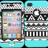 Bumper Case for Iphone 4 4s Black & White Aztec Design Hard Plastic Snap on Baby Teal Silicone Gel
