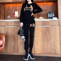 """Gucci"" Women Casual Fashion Double Tiger Letter Print Long Sleeve Cotton Sweater Trousers Set Two-Piece Sportswear"